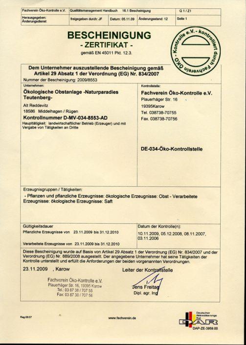 Öko-Zertifikat 2009