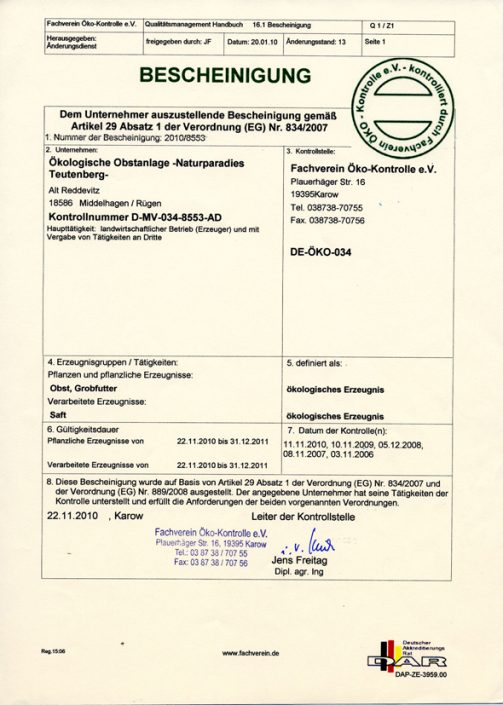 Öko-Zertifikat 2010
