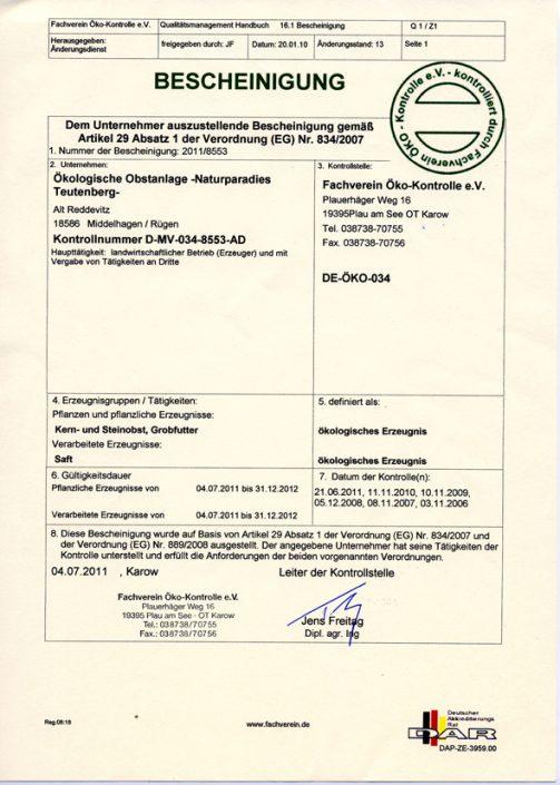 Öko-Zertifikat 2011