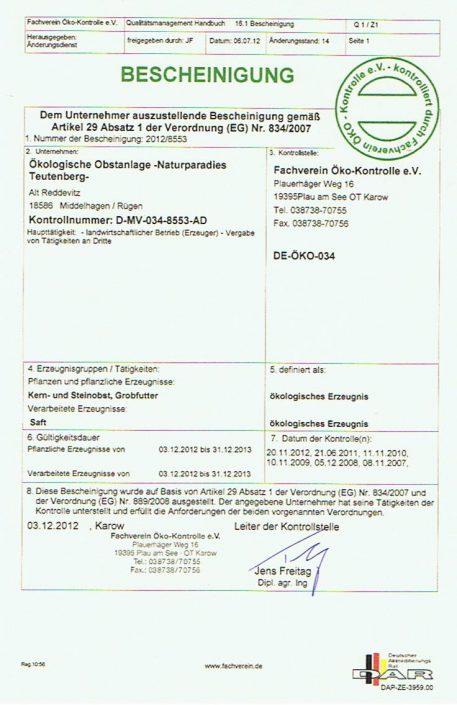 Öko-Zertifikat 2012