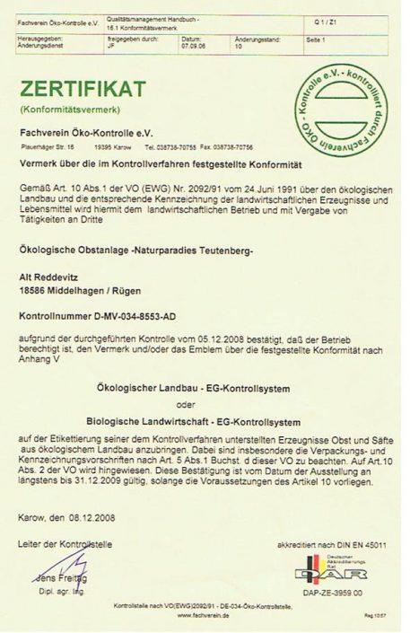 Öko-Zertifikat 2008