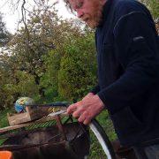 Roland beim Hornfischschlachten